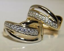 YELLOW GOLD ON SILVER DIAMOND CREOLE HOOP EARRINGS 925  STERLING