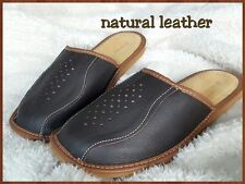 Mens Natural Leather Slippers Dark Brown UK size 7, 8, 9, 10, 11, 12 Shoes