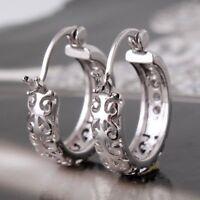 925 Silver White Topaz Hoop Women Jewelry Dangle Ear Studs Earrings Engagement