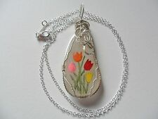 "Chunky tulip hand painted sea glass necklace - 18"" silver plated chain"