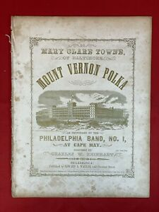 Antique 1855 Sheet Music - MOUNT VERNON POLKA - Litho Cover
