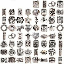 Silver Tone Pandora Charms Lot 60 Authentic Tibetan Charm Beads Spacers Troll