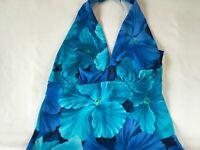 Jantzen Tankini Top Women's 10 Multi Blue Floral Tropical Padded Trim Swim New