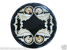 "12"" Black Marble Rare Marquetry Foyer Table Coffee Top Gemstone Arts Gift Decor"