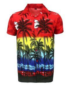 WOMENS LADEIS HAWAIIAN LOUD BEACH ALOHA HEN PARTY FANCY SHIRT RED PALM
