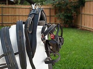 NYLON WEBBING CART DRIVING HARNESS SET BLACK COLOUR IN ALL SIZES