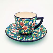 Longwy, France Majolica & Enamel Demitasse Cup and Saucer, Cherry Blossom Motif