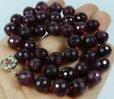 cadeau d'anniversaire ! 10mm perles, facettes,rouge,grenat gemme,collier,45 cm