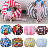 Kids Storage Bean Bag Stuffed Animal Plush Toy Soft Pouch Stripe Fabric Chair UK