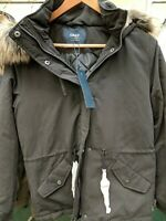 Ladies Size Medium Black Parka Style Hooded Coat New With Tags Ref Hung Up