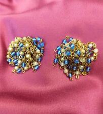 Vintage bead pom pom tassel dangle cluster clip on earrings