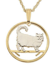 "Cat ( Birman ) Pendant & Necklace Isle Of Man Cut coin 3/4"" diameter ( # 668 )"