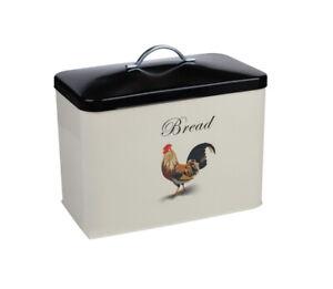 Airtight Bread Bin Loaf Canister Large Cockerel Cream Black Vintage Food Storage