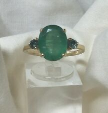 Large, Genuine 14kt Yellow Gold Oval Emerald with Green Diamond accents