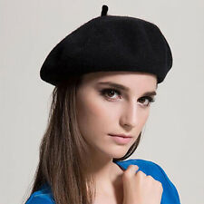 Women Girls Beret Hat Winter Warmer French Artist Round Classic Casual Solid Cap