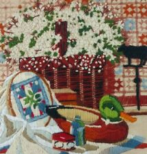 Floral Crewel Finished Duck Mallard Star Quilt Wicker Basket Weathervane Country