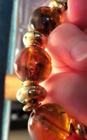 Vintage Amber Imitation Beads Necklace 1960's Gold Tone Accents 11 inches  #87