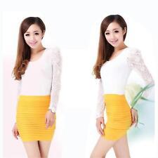 jupe pour femme en taille unique haute élastique ( XS au L maxi ) couleur jaune.