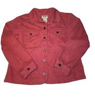 Vintage LL Bean Women's Sz L Large Pink Corral Denim Button Up Trucker Jacket