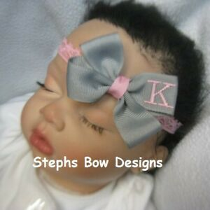 Gray w/ Pink Monogram Dainty Hair Bow Headband Personalized 4 Preemie 2 Toddler