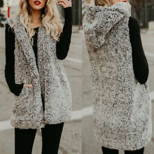 UK 8-26 Women Winter Fluffy Faux Fur Waistcoat Hoodie Gilet Coat Jacket Outwear