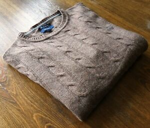 Gant size L Crew Neck 100% Lambs Wool Men's Sweaters Cable-Knit Brown