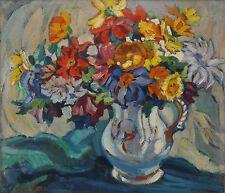 Altes expressionistisches Blumenstillleben undeutlilch signiert