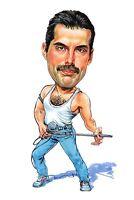 """Queen Freddie Mercury Caricature """"Killer Queen"""" 70's-80's Rock Sticker or Magnet"""