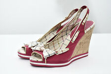 Coach Twirling Leather Bow Front Pink Canvas Peep Toe Wedges Sandals Sz 10 B