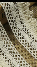 Off White Cream 4cm Trim Tassel Fringe DIY Cotton Lace Ribbon Price per 30cm