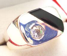 .925 Sterling Silver Men's Black Onyx & Briolite Ring Sz 13 & 14
