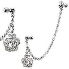 Steel Chain Linked Royal Crown Ring Gemmed Cartilage/Tragus/Helix Barbell (g17)