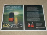 ESS amt-1a Speaker Ad, 1976, 2 pages, Article, Info, Very Rare!