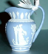 Wedgwood Iconic Blue Pitcher Christmas Ornament White Relief New