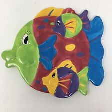 Cooks Club Glazed Ceramic Trivet Pot Rest Bold Colorful Fun Funky Fishes