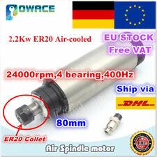 【EU】2.2KW 80mm Air Cooled Spindle Motor ER20 220V 24000rpm CNC ENGRAVING MILLING