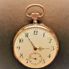 "Gilded (0,585) "" Open Face "" Men's Pocket Watch, Good Function, ca. 1915"