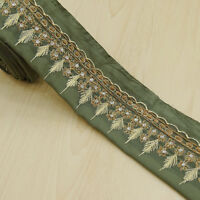 Vintage saree Border Indian Ribbon Embroidered Sari Green Lace Sewing 1YD Trim