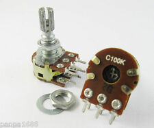 6pcs ALPHA C100K 100K ohm Dual Stereo Potentiometer Log Taper pots 20mm shaft