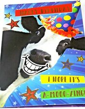 Happy Birthday Card. Cow Theme. Party Animal Range from Heartstring Cards.