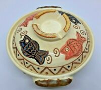 Stoneware Pottery Bowl/ Pot Dish with Lid, Glazed Fish Design