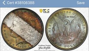 1886 MORGAN SILVER DOLLAR PCGS & CAC MS64 TONED COLLECTOR COIN, FREE SHIPPING