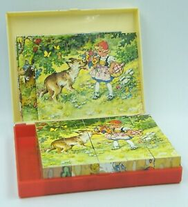 Vintage LUNGERSHAUSEN Fairy Tale Picture Cube Wooden Blocks Puzzle West Germany