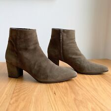 Stuart Weitzman Zepher Olive Green Suede Block Heel Boots Booties US 10