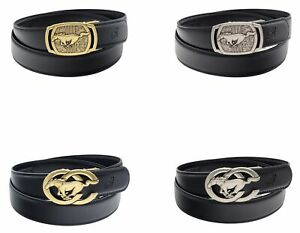 Mens Ratchet Belts Horse Automatic Leather Belt Buckle for Men 35mm Wide by QHA