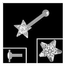 Nasenpiercing Stern diamantiert 3,2 mm Zirkonia 925 Silber Nasenstecker Kugel
