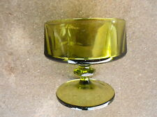 Vintage Green Footed Sherbet Ice Cream Stemmed Bowl  Mid Century