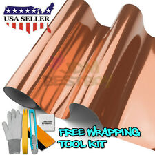"*60""x108"" Rose Gold Copper Chrome Car Vinyl Wrap Sticker Decal Air Release"