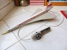 Avion Concorde jouet ancien tôle vintage années 70 58cm filoguidé France