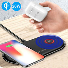 Dual 10W FAST Qi Wireless Charging Charger Pad Dock For iPhone 11 XR Xs Xiaomi 9